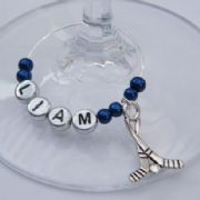 Hockey Sticks Personalised Wine Glass Charm
